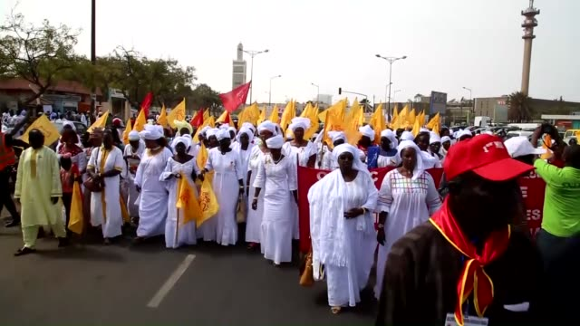 unions connected with national confederation of senegalese workers march from grand mosque to obelisque square with the motto ''power of change... - grand mosque stock videos and b-roll footage