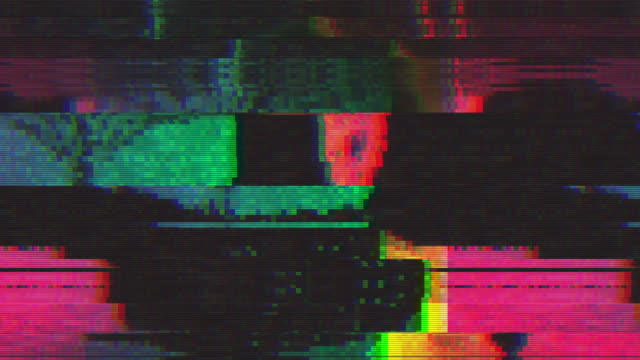vídeos de stock e filmes b-roll de unique design abstract digital animation pixel noise glitch error video damage - videocassete