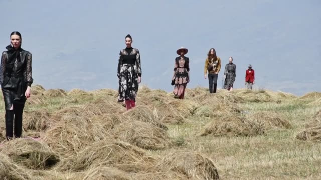 unique fashion show is being staged in the foothills of mount ararat on august 31, 2020 in eastern turkey near the border with armenia. acclaimed... - fashion show stock videos & royalty-free footage