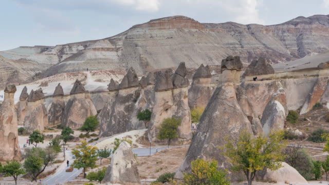 unique geological formations in love valley in cappadocia, popular travel destination in turkey - cliff dwelling stock videos & royalty-free footage