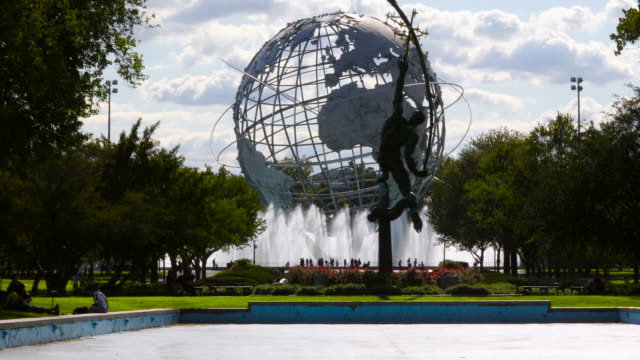 unisphere, globe of the world, earth, in queens new york, site of the worlds fair. - flushing meadows corona park stock videos and b-roll footage