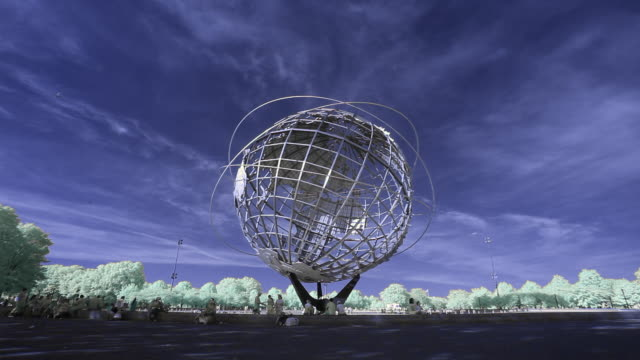 vídeos de stock, filmes e b-roll de ws unisphere in flushing meadow park, new york city, new york, usa - flushing meadows corona park