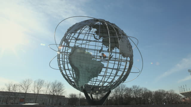 t/l ms unisphere sculpture in park, day till night, new york city, new york state, usa - flushing meadows corona park stock videos and b-roll footage
