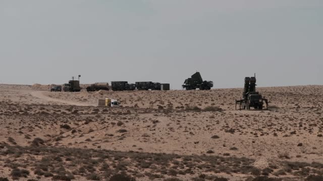 unit of patriot mim-104 surface-to-air missile mobile launcher deployed in the negev desert southern israel - eddie gerald stock videos & royalty-free footage