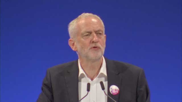 corbyn speech england east sussex brighton int jeremy corbyn mp speech sot corbyn away from podium and having his arm raised by unite general... - east sussex stock videos & royalty-free footage