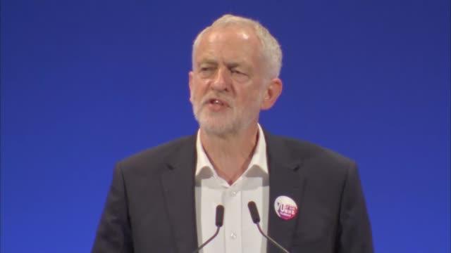 vídeos de stock e filmes b-roll de corbyn speech england east sussex brighton int jeremy corbyn mp speech sot - east sussex