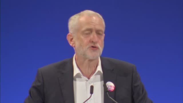 corbyn speech england east sussex brighton int labour party leader jeremy corbyn introduced before addressing the unite the union policy conference... - east sussex stock videos & royalty-free footage