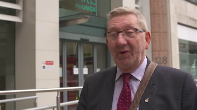 """unite general secretary len mccluskey saying he """"hopes we can discuss it and move on"""" after jeremy corbyn was suspended from the labour party - trade union stock videos & royalty-free footage"""