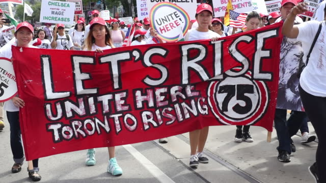 unite here local 75 the union for hospitality workers in the greater toronto area the toronto labor day parade is a traditional annual event in the... - labor union stock videos and b-roll footage