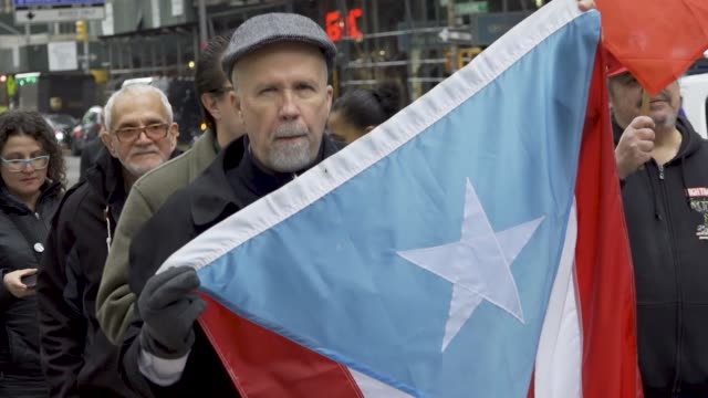 united against promesa rallied in front of 26 federal plaza opposing the puerto rico oversight management and economic stability act demonstrators... - press release stock videos and b-roll footage