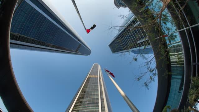United Arab Emirates, Abu Dhabi, Etihad Towers. Fish-eye
