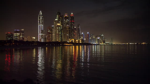 United Arab Emirates, Dubai. City skyline of Dubai Marina district. Night