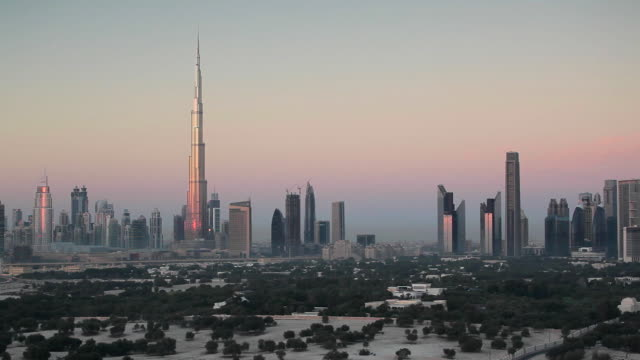 United Arab Emirates, Dubai, elevated view of the new Dubai skyline, the Burj Khalifa, modern architecture and skyscrappers on Sheikh Zayed Road