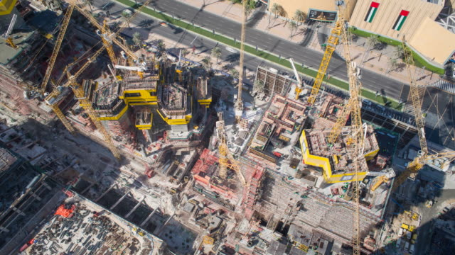 United Arab Emirates, Dubai, elevated view of the new Dubai skyline, modern architecture and skyscrappers construction - Time lapse