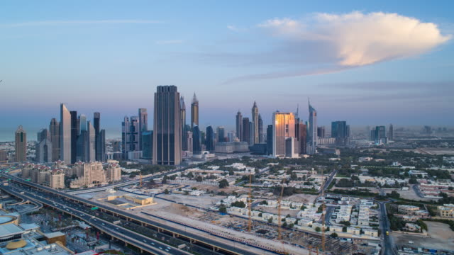 United Arab Emirates, Dubai, elevated view of the new Dubai skyline, modern architecture and skyscrappers on Sheikh Zayed Road