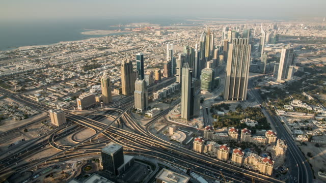 United Arab Emirates, Dubai. View from observation deck of Burj Khalifa, Khalifa Tower, 828 m. Highest building in the world. sheikh Zayed Road crossing the main business and financial district