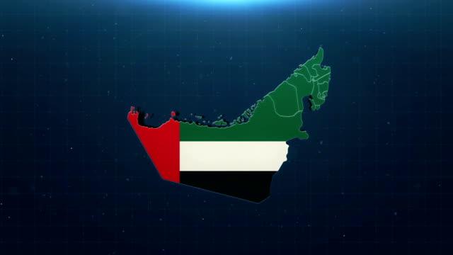 vídeos de stock, filmes e b-roll de mapa de 4k emirados árabes unidos com bandeira nacional - países do golfo