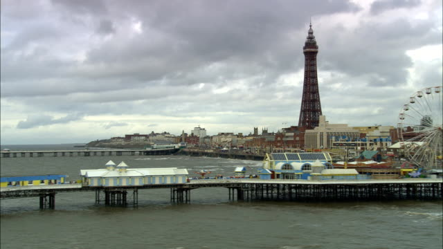 united kingdom - blackpool tower  - aerial view - blackpool stock videos & royalty-free footage