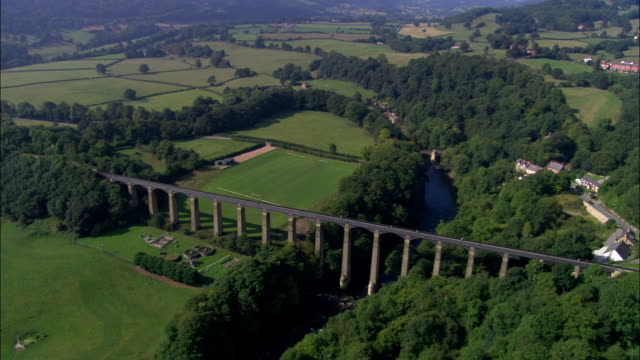 united kingdom - cefn mawr viaduct - aerial view - wales stock videos & royalty-free footage
