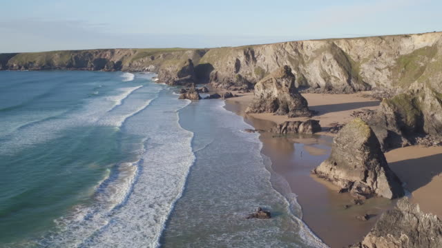 united kingdom, cornwall, rugged cornish coastlineand rock stacks at bedruthan steps - cornwall england stock videos & royalty-free footage