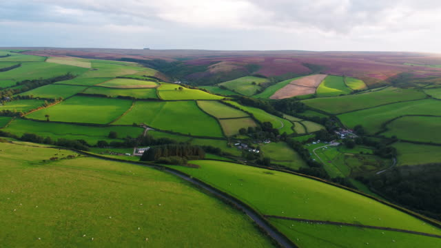 united kingdom, devon, exmoor national park, aerial view over the moors and farmland - england stock-videos und b-roll-filmmaterial