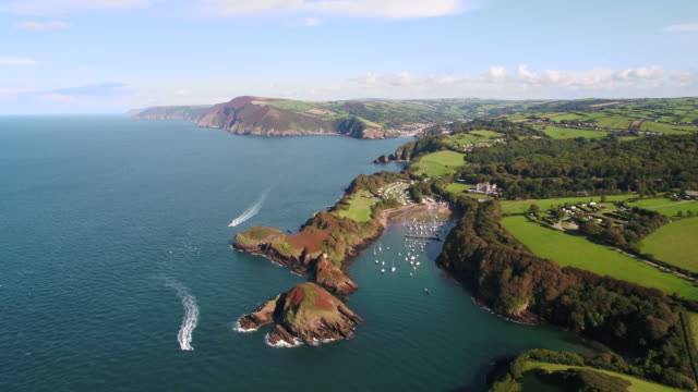 united kingdom, devon, north devon coast, coastal scenery at watermouth bay near ilfracombe - devon stock videos & royalty-free footage