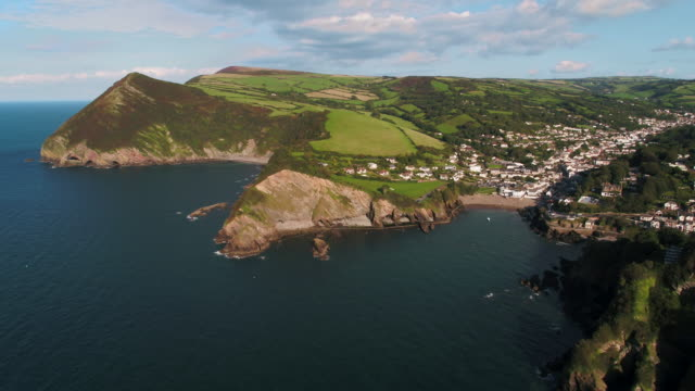 united kingdom, devon, north devon coast, combe martin and coastline - devon stock videos & royalty-free footage
