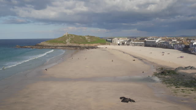 united kingdom, england, cornwall, st. ives, porthminster beach and harbour - cornwall england stock videos & royalty-free footage