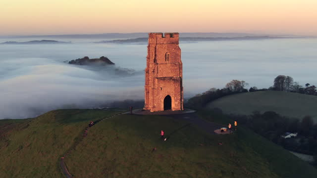 united kingdom, england, somerset, glastonbury, st. michael's church tower on glastonbury tor - monument stock videos & royalty-free footage