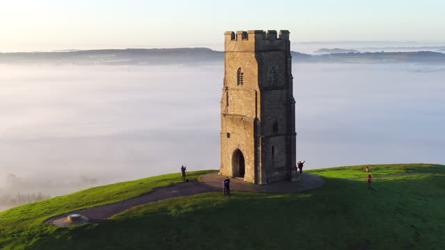 united kingdom, england, somerset, glastonbury, st. michael's church tower on glastonbury tor - old ruin stock videos & royalty-free footage