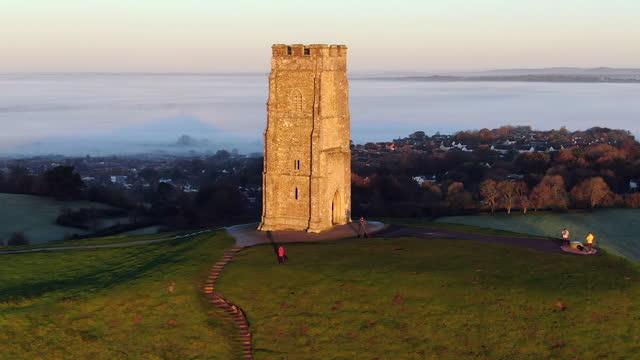 united kingdom, england, somerset, glastonbury, st. michael's church tower on glastonbury tor - monument stock videos & royalty-free footage