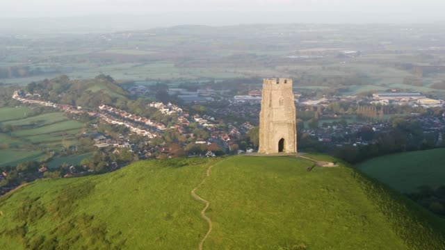 United Kingdom, England, Somerset, Glastonbury, St. Michael's Church Tower on Glastonbury Tor