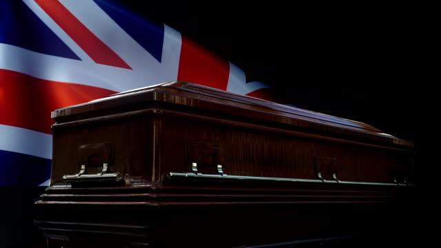 united kingdom flag behind coffin - world war one stock videos & royalty-free footage