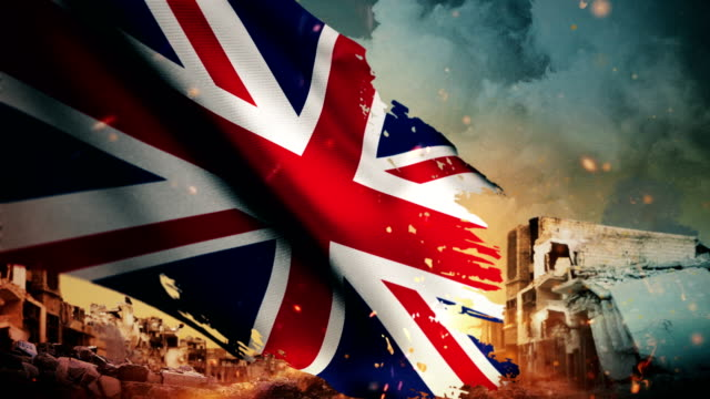 4k united kingdom flag - crisis / war / fire (loop) - nuclear bomb stock videos & royalty-free footage