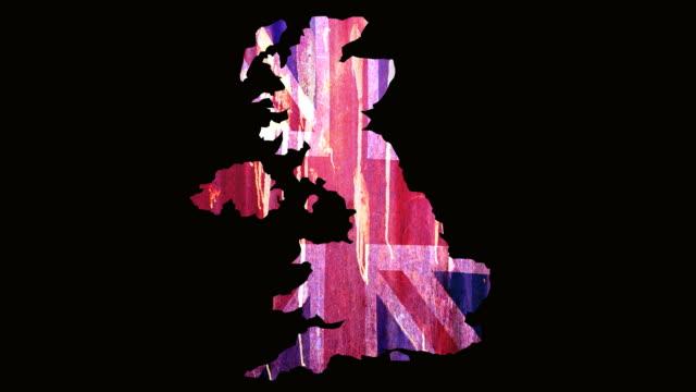 bandiera grunge del regno unito - bandiera inglese video stock e b–roll