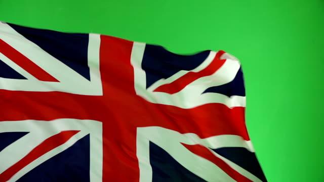 United Kingdom Flag on green screen, Real video, not CGI - Super Slow Motion (UK)