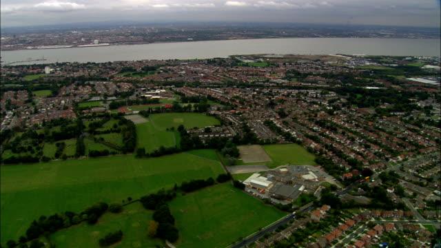 united kingdom - higher bebington recreation ground\npark and garden - aerial view - merseyside stock videos & royalty-free footage