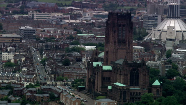 united kingdom - liverpool cathedrals  - aerial view - liverpool england stock videos & royalty-free footage