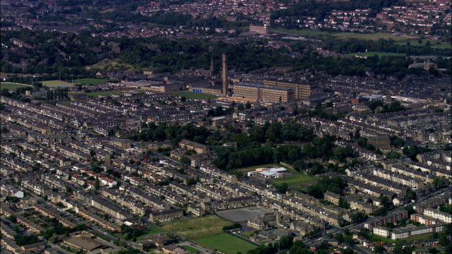 united kingdom - manningham mills, bradford  - aerial view - west yorkshire stock videos & royalty-free footage