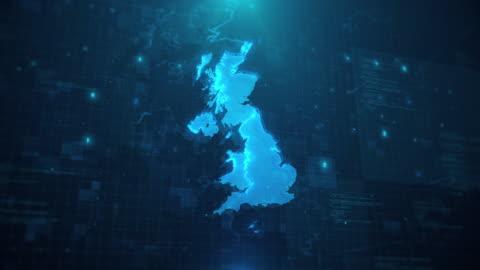 karte des vereinigten königreichs mit regionen vor blauem animiertem hintergrund 4k uhd - vereinigtes königreich stock-videos und b-roll-filmmaterial