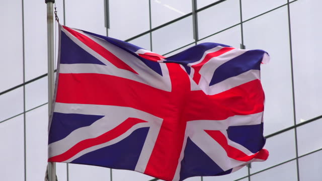 United Kingdom national flag waving or flying in the Toronto city downtown, Canada