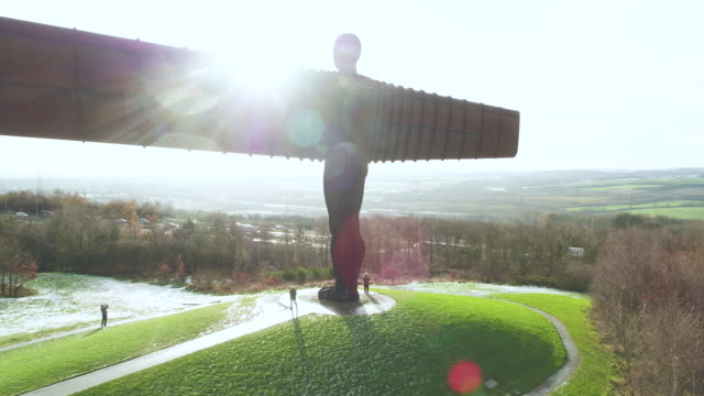 united kingdom, north east england, tyne and wear, gateshead, angel of the north sculpture - sculpture stock videos and b-roll footage
