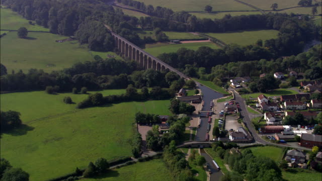 united kingdom - pontcysyllte aqueduct - aerial view - canal stock videos & royalty-free footage