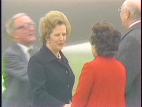 stockvideo's en b-roll-footage met united kingdom prime minister margaret thatcher deplanes in brussels germany for the upcoming european economic community summit the leaders of ten... - (war or terrorism or election or government or illness or news event or speech or politics or politician or conflict or military or extreme weather or business or economy) and not usa