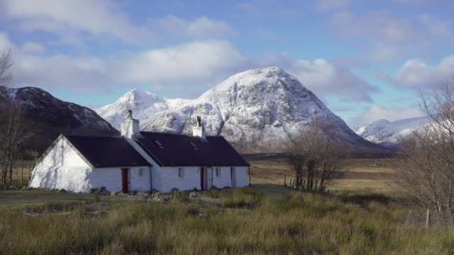 united kingdom, scotland, highlands region, western highlands, glencoe (glen coe), rannoch moor, blackrock cottage - scottish highlands stock videos & royalty-free footage