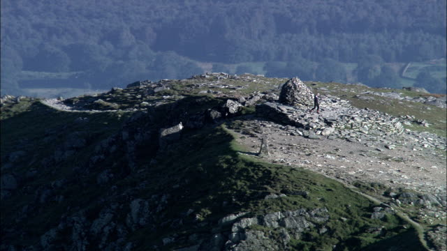 united kingdom - the old man of coniston and fells  - aerial view - english lake district stock videos and b-roll footage