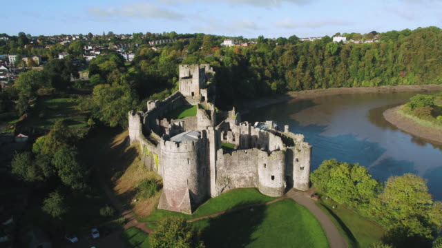 united kingdom, wales, gwent, chepstow castle, river wye - british culture stock videos & royalty-free footage