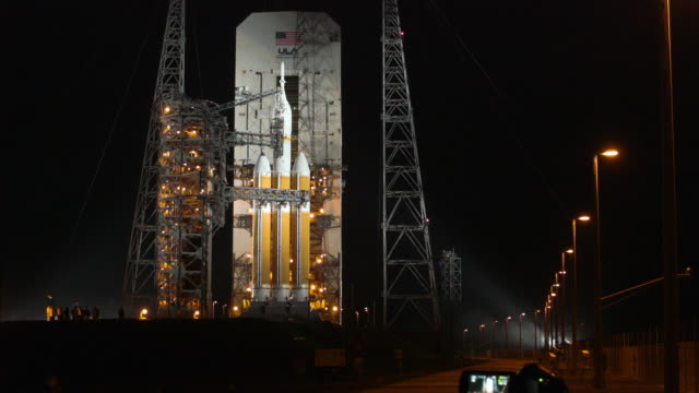 A United Launch Alliance Delta 4 rocket carrying NASA's first Orion deep space exploration craft sits on its launch pad as it is prepared for a 705...