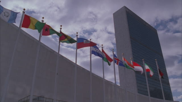la, ms, united nations building, new york city, new york, usa - united nations building stock videos and b-roll footage