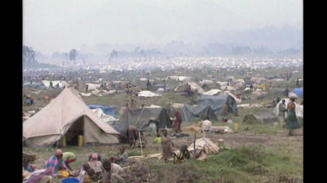 united nations courts jail architect of rwandan genocide tx kibumba refugee camp rwandan refugees - völkermord stock-videos und b-roll-filmmaterial